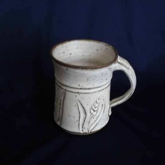 Pottery Mug Wheat Design Speckled Cream  10 oz. Handmade by Daisy Friesen