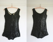 vintage 1940s/1950s sequin pin up body suit / leotard - extra small
