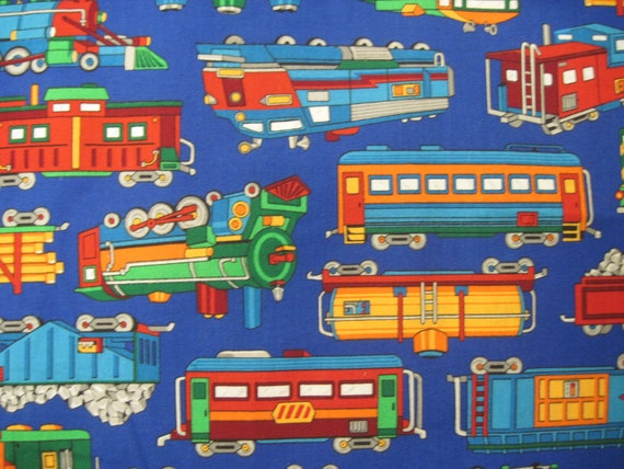 Bright blue train fabric by vip for cranston by seams4ever for Train print fabric