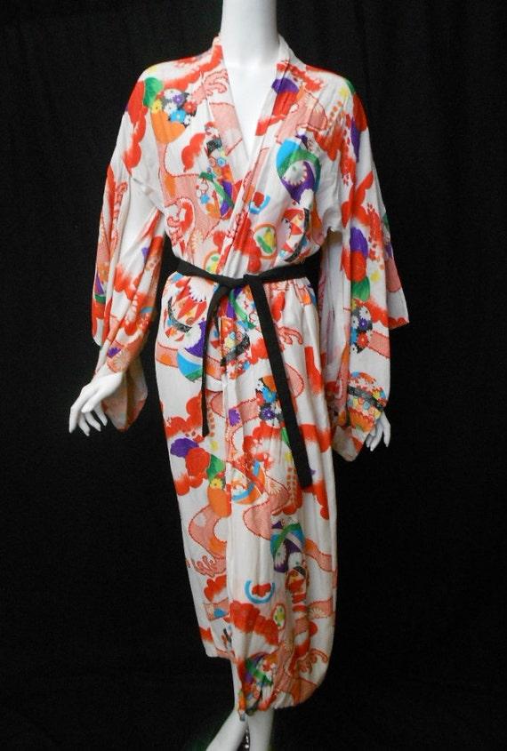Vintage Hand Printed Kimono 1950s 1960s Furisode Bright Pattern Long