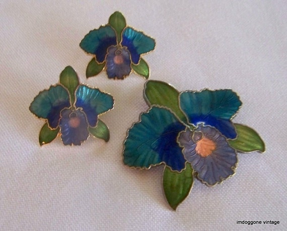 Vintage Cloisonné Brooch and Matching Stud Earrings, Orchid Flower