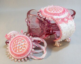 Pink and White Cuff and Necklace Pair Vintage German Glass
