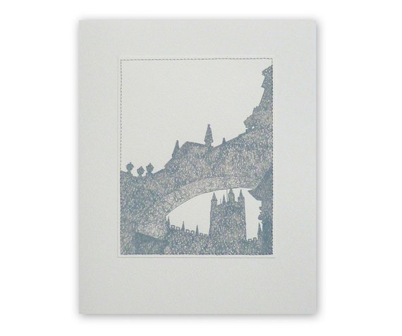 Original ink drawing, 'Bath Abbey', city skyline, silhouette, sewn picture, grey, on 8x10 paper