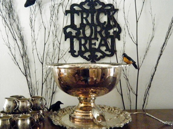 Halloween Party Perfection, Fabulous and Gothic, Vintage Silver Punch Bowl, 12 Cups, & Ladle by F.B. Rogers, 1950's-1960's