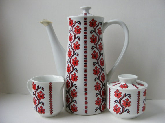 Vintage Coffee Sugar Creamer Set Red Black Geometric