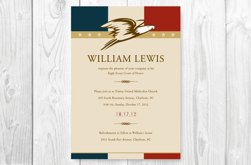 Eagle Scout Court Of Honor Invitations Card American Theme