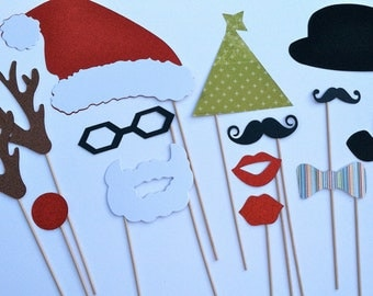 ON SALE TODAY! Christmas Photo Prop Set Assembled on a stick mustache on a stick photo prop now with more props