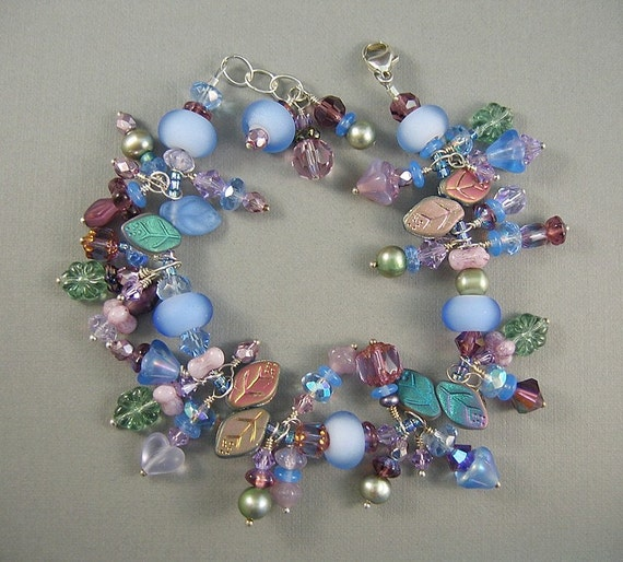 Blue Floral Glass Bead and Lampwork Glass Charm Bracelet