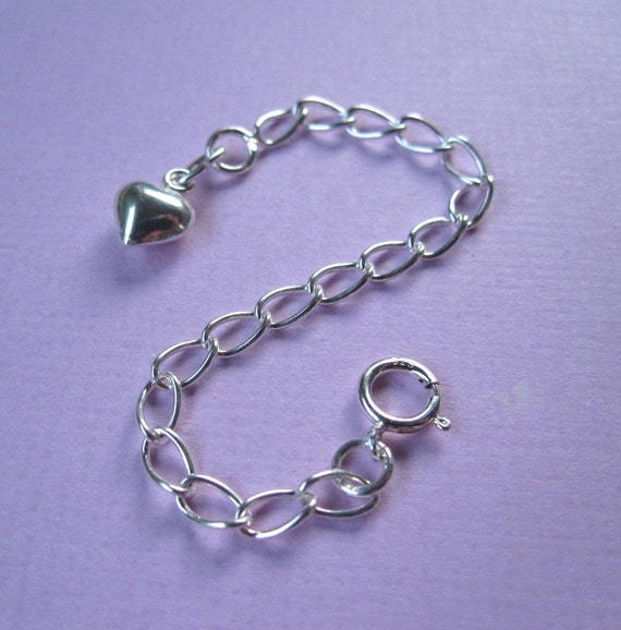 3 Inches Necklace Extender Sterling Silver Puffed Heart Charm