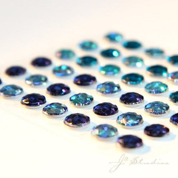 7 mm Rhinestone Stickers, Acrylic Faceted, Shades of Blue, Set of  42