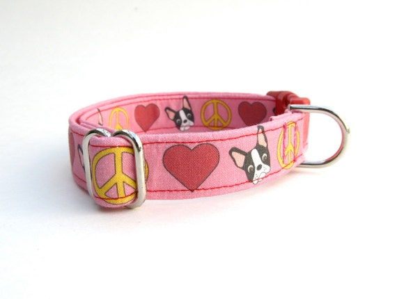 Pink Peace, Love, and Boston Terrier Dog Collar