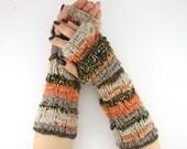 knit fingerless gloves arm warmers fingerless mittens fall autumn brown pumpkin orange beige unisex  curationnation