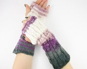 long knit fingerless gloves knit arm warmers fingerless mittens Cable knit grey purple ombre white fall curationnation