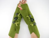 Fingerless mittens arm warmers fingerless gloves arm cuffs in light olive green eco friendly recycled wool