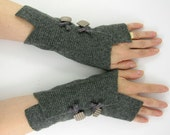 grey arm warmers fingerless mittens  wrists warmers arm cuffs fingerless gloves recycled wool fall fashion eco friendly curationnation