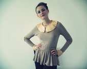 Cotton Rib Top With Peplum and Gold Sequins