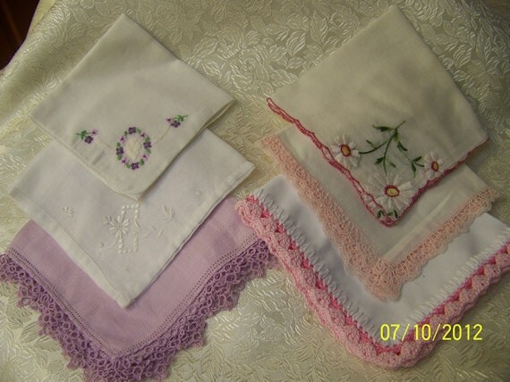 Handkerchief/ Hanky Lot for Crafting or Cutter Project/ embroidered/ pink/ purple/Scrapbooking
