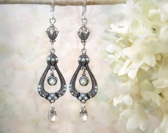Crystal Pearl Silver Chandelier Earrings Victorian Wedding Earrings Clear Swarovski Crystal Teardrop Earrings Edwardian Earrings Gatsby