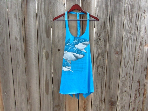 Upcycled Tshirt - Sharks Smock Tunic Tank in Bright Turquoise - Womens Upcycled Clothing - One Size Fits Most