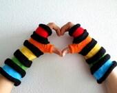 Rainbow Fingerless Gloves, Ridge Accordeon Arm Warmers - Black, Red, Orange, Yellow, Green, Blue