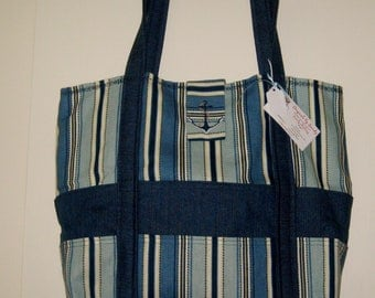 Large Embroidered Nautical style tote bag