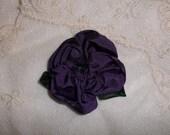 Purple Ribbon Rose Brooch
