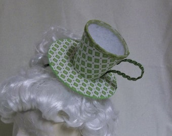 Teacup Fascinator- White and Lime Green Teacup Headband- Mini Hat