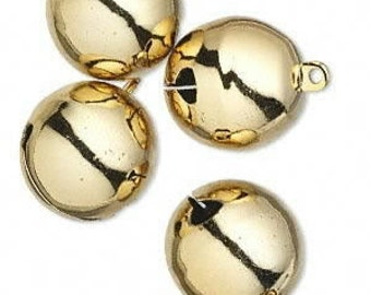 4 Pack ofGold Colored Bells, 25mm with a  top loop