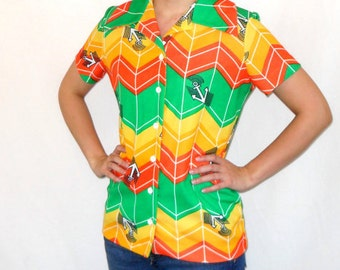 SALE 70s Butterfly Collar Anchor Print Vintage Pop Art Top