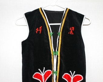 East Asian Mysterious Butterfly Embroidered Black Vest