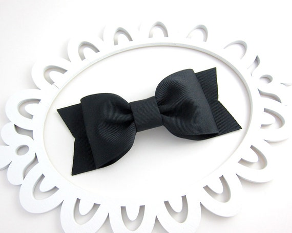 Large Black Bow Hair Clip Alice in Wonderland Tea Party Costume Prop Pretend Play