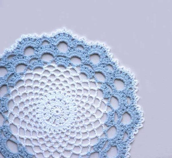 Coastal Cottage Sky Blue and White Doily, Crochet Lace Home Decor, Handmade by NutmegCottage