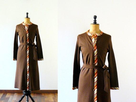 FINAL SALE // Vintage 1970s house coat. 70s deadstock brown wool robe. long gown