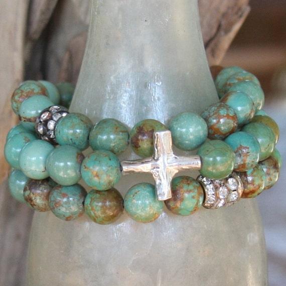 for MARCIA...kingman mine turquoise bracelet set with rhinestones and cross...