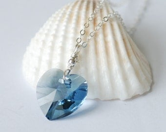 ON SALE Perfect Blue Swarovski Crystal Heart Necklace Sterling Silver Wire Wrapped Jewelry Valentine's Day Gifts