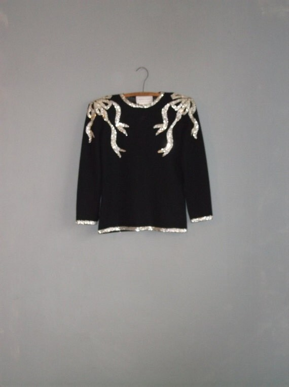 1980s INSANE glam sequin shoulder wool knit tunic / SURREAL silver sequin encrusted shoulders / adrienne vittadini / s