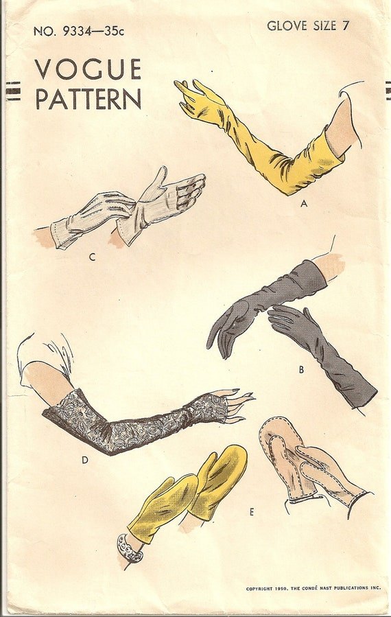 Vintage 40s-50s Pattern Vogue 9334 GLOVES, Fingerless Gloves, Mitts, Mittens, 3 lengths Size 7, Unused
