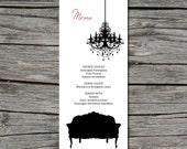 Wedding Menu, DIY, Old Hollywood Glam, Printable, Digital File by ticklemeink on Etsy