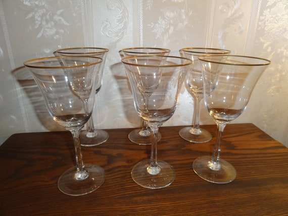 Vintage Lenox Crystal Intrigue Pattern Gold Rim Water Goblet