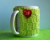 Knitted Mug Cozy - Lime Green Checkered with Red Sequin Heart