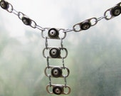 Chain link recycled can tab long necklace with black rubber