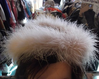 1950s Pink Velvet Hat w Marabou Feathers