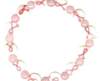 stretchy elastic pink ribbon glass bead bracelet rose quartz