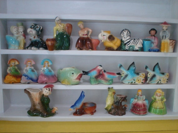 COLLECTION of vintage ceramic  figurines/planters