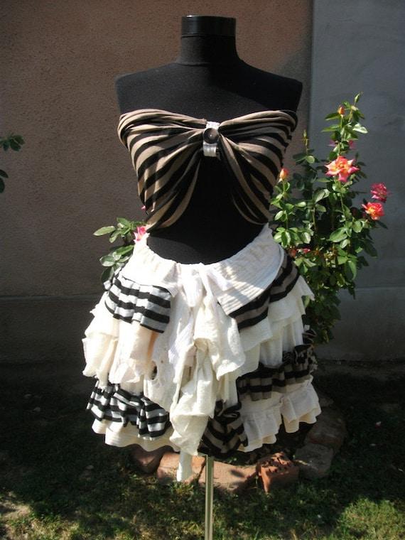 steampunk,halloween,Reserved for Kayla costume, women costume, tattered, velvet skirt, stripes, ruffles, sepia,victorian,performance