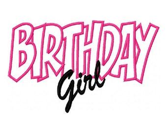 Birthday Girl Embroidery Machine Applique Design 10572