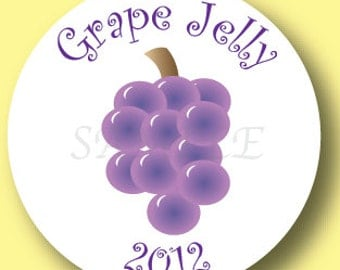 Grape Canning Jar Labels, Set of 20 Stickers