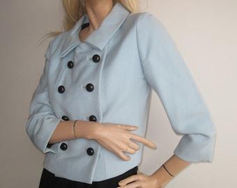Vintage 60s Mod Black Wool Dress & Jacket Mad Men Blue Wool Dress Set I. Magnin