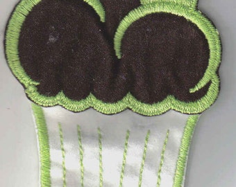 Retro Green Brown White Felt Large Cupcake Sew On 1970's Vintage Sewing Patch Applique