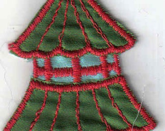 Green and Blue Tower Pagoda Shiny  1970's New Vintage Patch Applique
